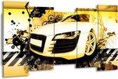 Canvas schilderij Audi   Geel, Zwart, Wit   150x80cm 5Luik