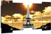 Canvas schilderij Parijs   Goud, Geel, Grijs   150x80cm 5Luik