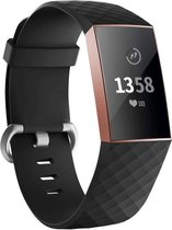 123Watches.nl Siliconen bandje - Fitbit Charge 3 - Zwart - Small