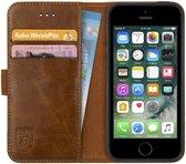Rosso Deluxe Apple iPhone 5/5S/SE Hoesje Echt Leer Book Case Bruin