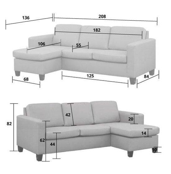Loungebank Swing chaise longue links   stof Malmo groen 37   2,08 x 1,36 mtr breed - HomingXL