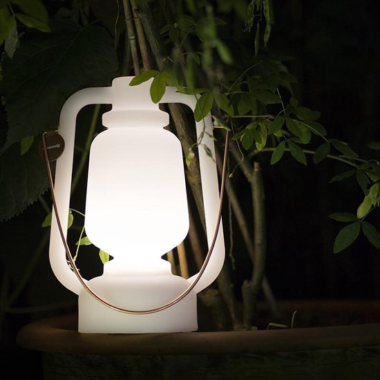 QAZQA storm Tafellamp - Staande buitenlamp - Wit - 1 lichts - H 300 mm