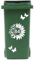 Container Sticker zonnebloem / vlinders met huisnummer   Kliko   Rosami