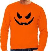 Halloween - Pompoen gezicht halloween verkleed sweater oranje voor heren - horror trui / kleding / kostuum L