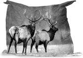 PillowMonkey zitzak - Twee herten met grote geweien in de sneeuw - zwart wit - 140x100 cm - Binnen en Buiten