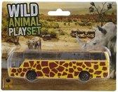 Bus safari speelgoedauto geel giraffe print 14 cm - Speelgoed voertuigen