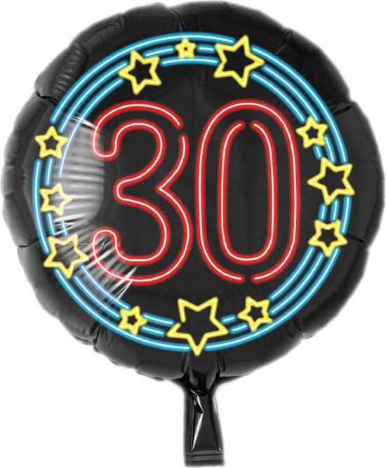 Folieballon - 30 Jaar - Neon - 43cm - Zonder vulling