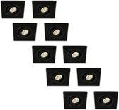 Groenovatie LED Inbouwspot 3W - Vierkant - Kantelbaar - Aluminium - Dimbaar - Zwart - 10-Pack