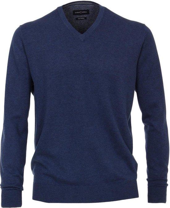 Hemelsblauwe v hals trui pima katoen regular fit Casa Moda