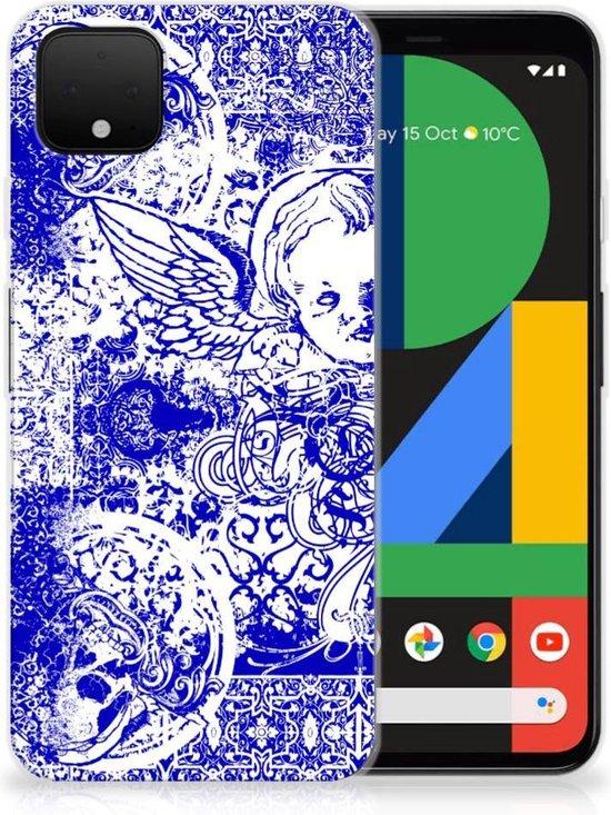 Silicone Back Case Google Pixel 4 XL Angel Skull Blue