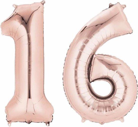 Folie ballon cijfer 16 rose goud - Sweet 16 verjaardag versiering