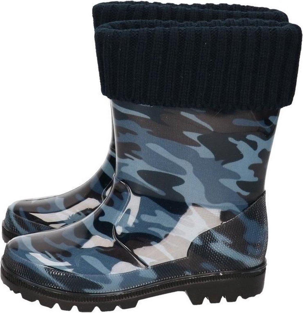 Blauwe peuterkinder regenlaarzen camouflageleger print met voering Rubberen laarzenregenlaarsjes voor kinderen 26