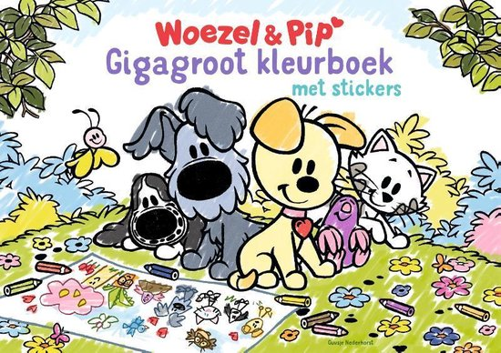 Boek cover Woezel & Pip  -   Gigagroot Kleurboek van Guusje Nederhorst (Paperback)