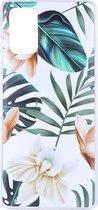 Shop4 - Samsung Galaxy S20 Hoesje - Zachte Back Case Bloemen en Bladeren