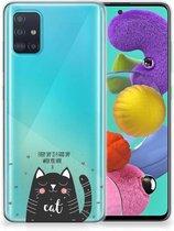 Telefoonhoesje met Naam Samsung Galaxy A51 Cat Good Day