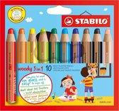STABILO Woody 3 in 1 Kleurpotloden - Etui 10 Stuks