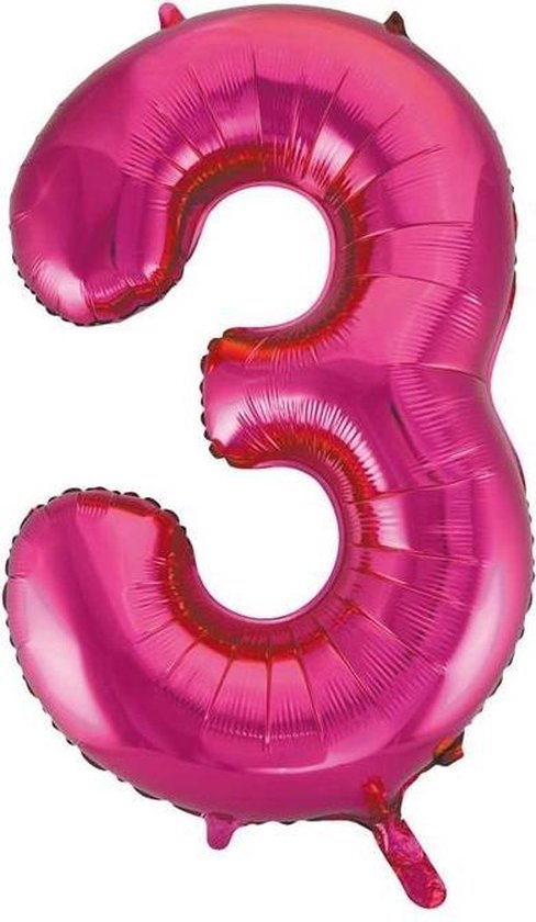 Folie Ballon Cijfer 3 Fuchsia XL 86cm leeg