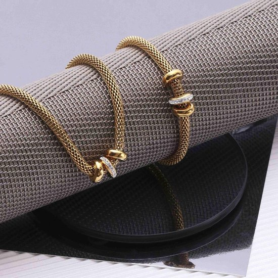 Stalen goldplated ketting&armband 3ringen kristal