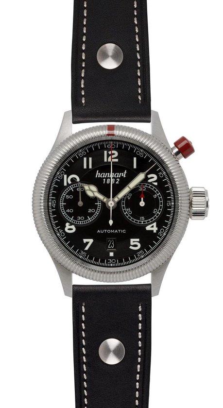 Hanhart Pioneer MonoControl Horloge Zwart, zwarte band, ribbelrand