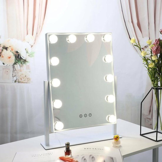 Bright Beauty Vanity hollywood make up spiegel met verlichting - wit - dimbaar met drie lichtstanden - Bright Beauty Vanity