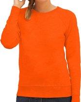 Oranje sweater / sweatshirt trui met raglan mouwen en ronde hals voor dames - basic sweaters - Koningsdag / oranje supporter L (40)
