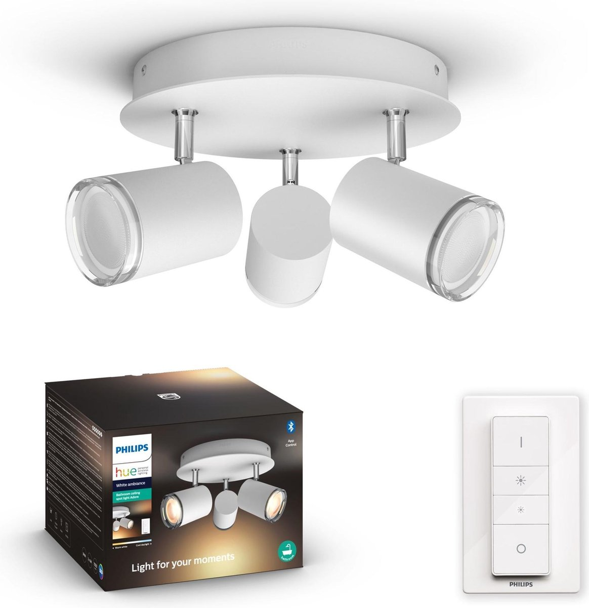 Philips Hue - Adore Hue plate/spiral white 3x5.5W - White Ambiance - Included Hue dimmer switch