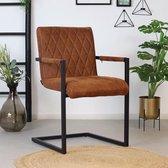 Bronx71® Eetkamerstoel cognac Diamond - Eetkamerstoelen met armleuningen - Industrieel - Eco leer stoel - Waterafstotend
