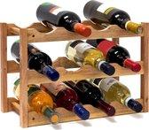 Relaxdays Wijnrek - 28 cm breed - Walnoot hout - 12 flessen