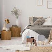 relaxdays Krukje met opbergruimte - rond - poef - voetenbankje - hout - MDF - met deksel wit