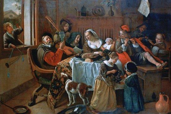 Schilderij - Vrolijk huisgezin, Jan Steen
