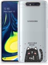 Telefoonhoesje met Naam Samsung Galaxy A80 Cat Good Day