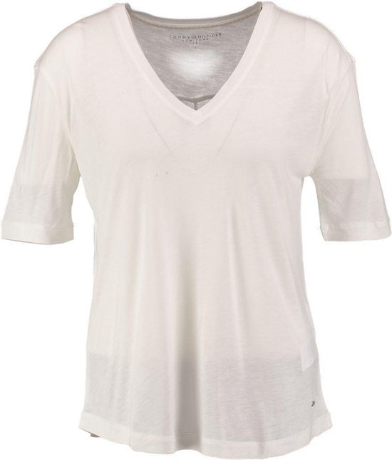 Tommy hilfiger soepel snow white viscose shirt Maat XXL
