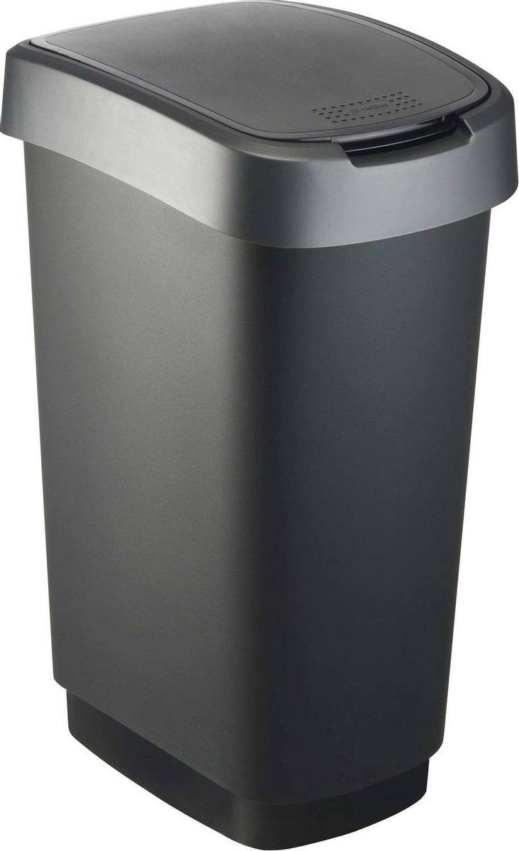 Rotho Twist - Prullenbak- 50 Liter Inhoud - Met Kanteldeksel - Zilver/Zwart