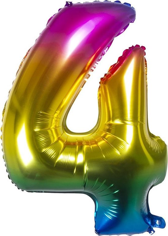 Boland Folieballon Cijfer 4 Latex Regenboog 86 Cm