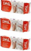 3x DAS boetseer klei wit 500 gram - hobby materiaal - klei
