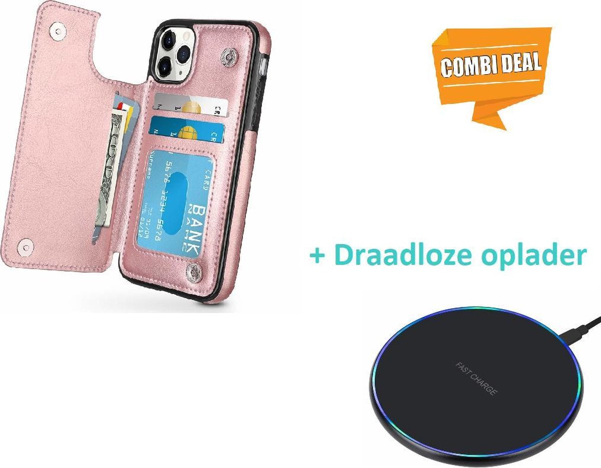 Wallet Case iPhone 11 Pro Max - rosé goud met draadloze oplader