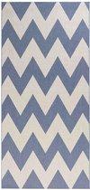 Loper binnen & buiten zigzag Unique - blauw 80x200 cm