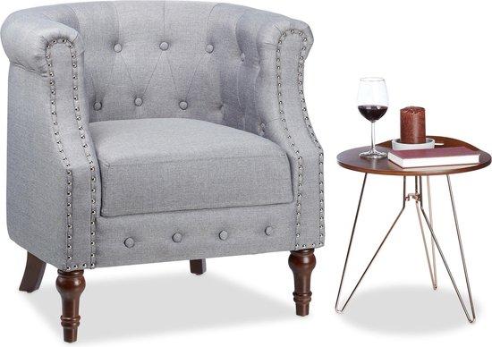 relaxdays retro fauteuil chesterfield - grijs - leunstoel - armstoel - comfortabele stoel