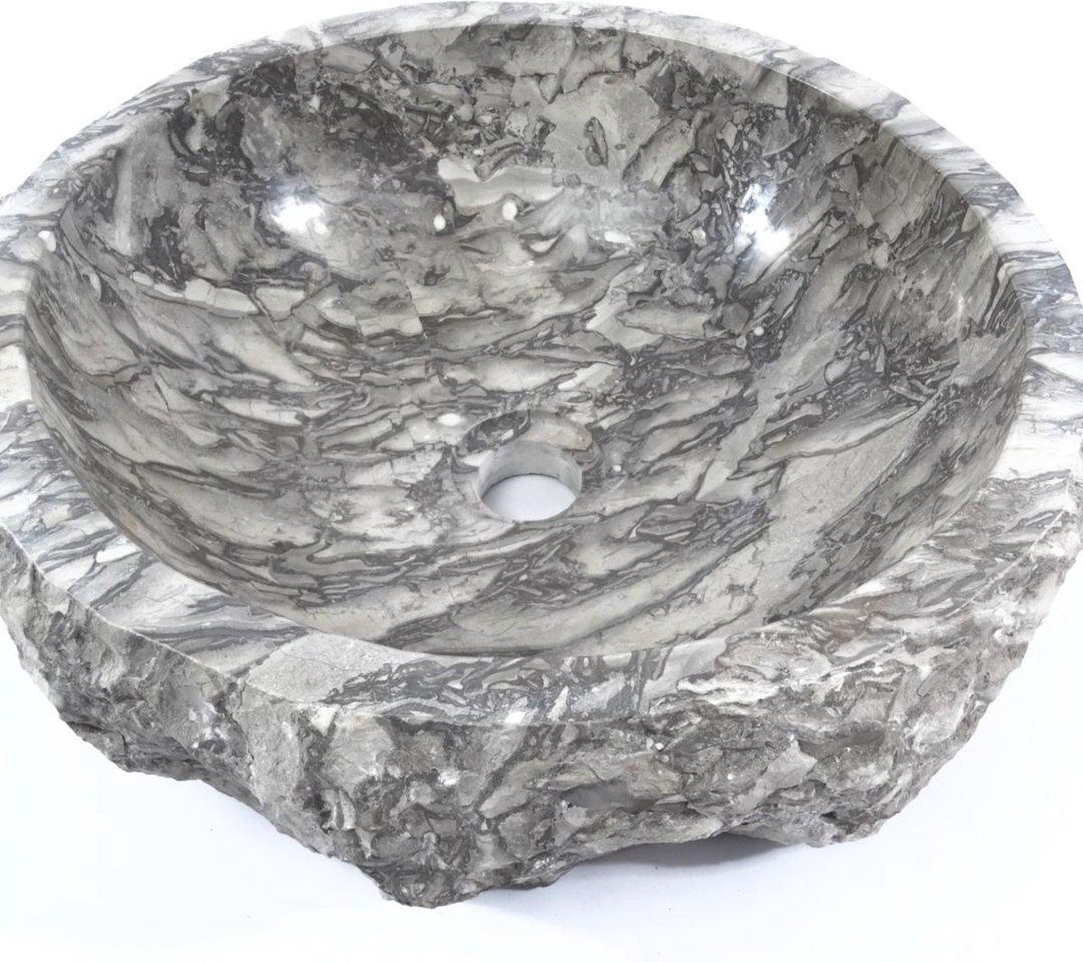 Handgemaakte Blanco marmer natuursteen waskom 40 cm