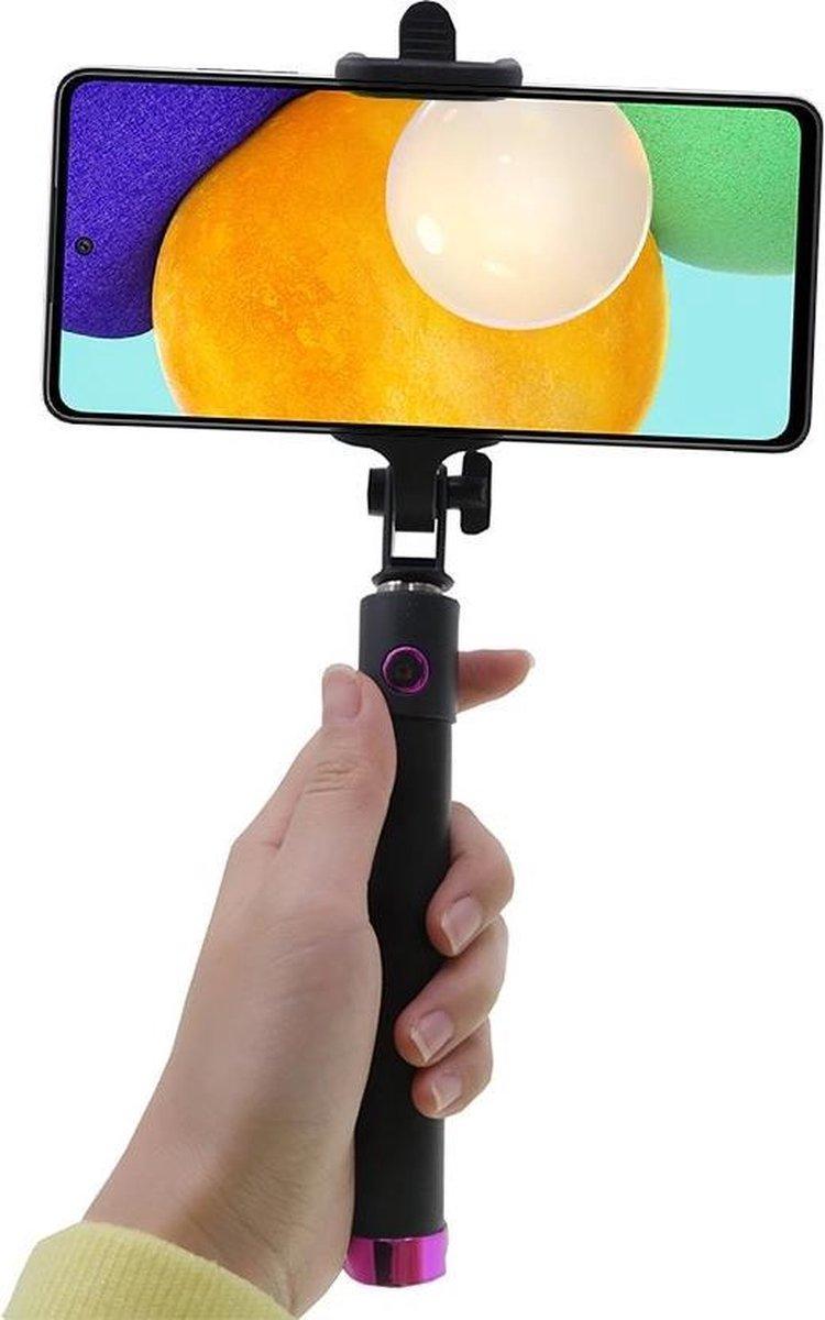 Shop4 – Samsung Galaxy A52 Selfie Stick Bluetooth Roze