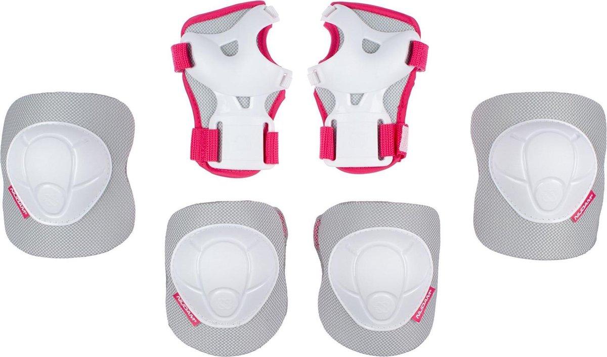 Nijdam Skate Beschermset Kinderen - White Out - Wit/Fuchsia - S