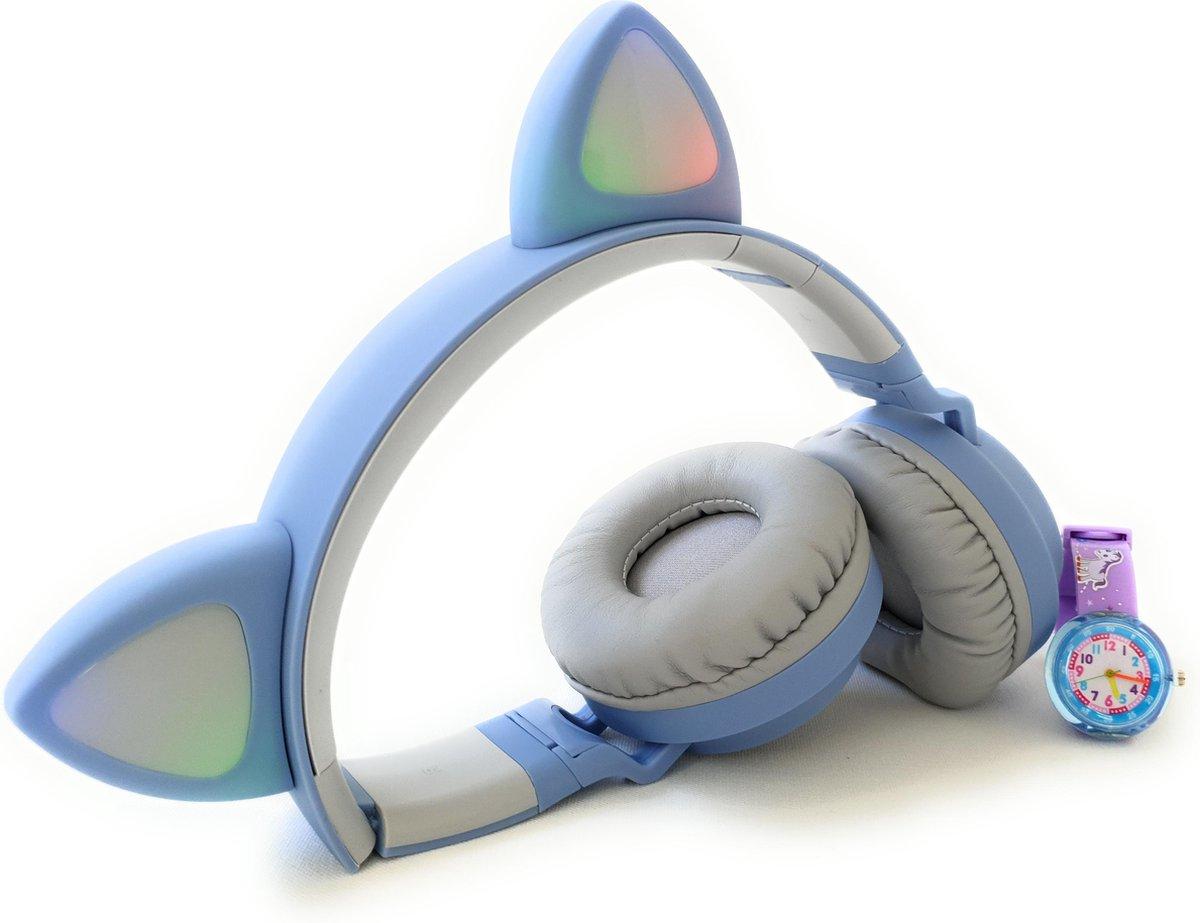 ZaCia Bluetooth Draadloze On-Ear Koptelefoon voor Kinderen Blauw Incl. educatief kinderhorloge – Kattenoortjes – Kinder Hoofdtelefoon – Microfoon – HiFi Stereo Audio – Handsfree – Gehoorbescherming – Schakelbare LED-verlichting – Noise Cancelling