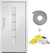 vidaXL Voordeur 100x210 cm aluminium en PVC wit  VDXL_3056810