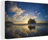 Stranden in het Nationaal park Kahurangi in Oceanië Canvas 120x80 cm - Foto print op Canvas schilderij (Wanddecoratie woonkamer / slaapkamer)