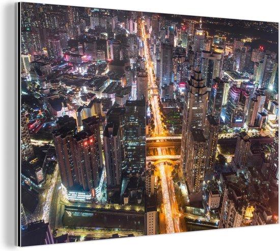 Luchtfoto van Shenzhen Aluminium 60x40 cm - Foto print op Aluminium (metaal wanddecoratie)