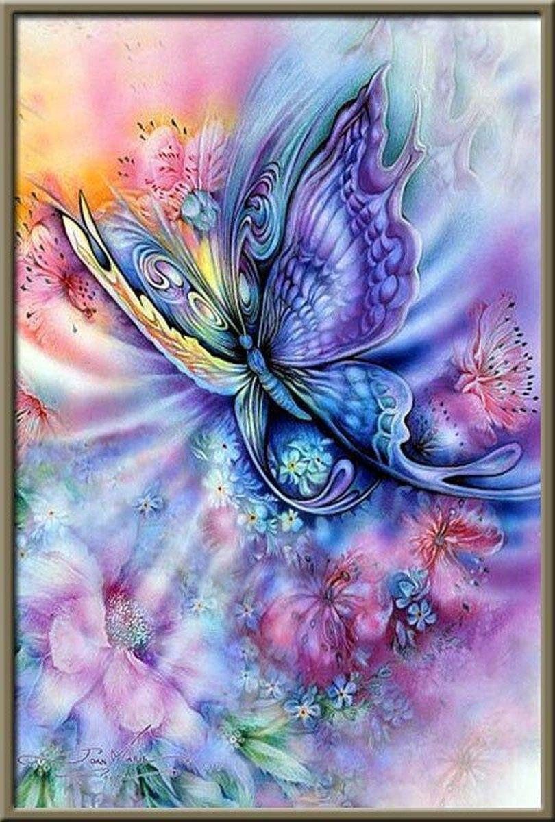 Premium Paintings - Gekleurde Vlinder - Diamond Painting Volwassenen - Pakket Volledig / Pakket Full - 30x40 - Moederdag cadeautje