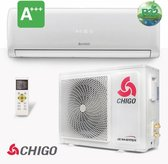 Chigo split unit airco 5 kW warmtepomp inverter A+++ Complete set 5 meter met kunststof balken  met Wi-Fi module