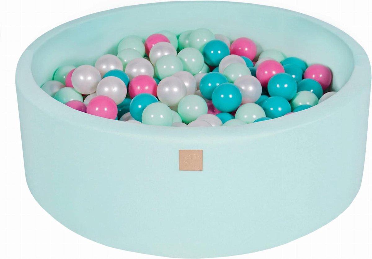 Ronde Ballenbak set incl 200 ballen 90x30cm - Mint: Pearl Wit, Turquoise, Licht Roze, Mint