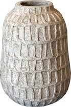 PTMD Timon bruine cement pot ronde rand maat in cm: 29 x 29 x 41 - Bruin