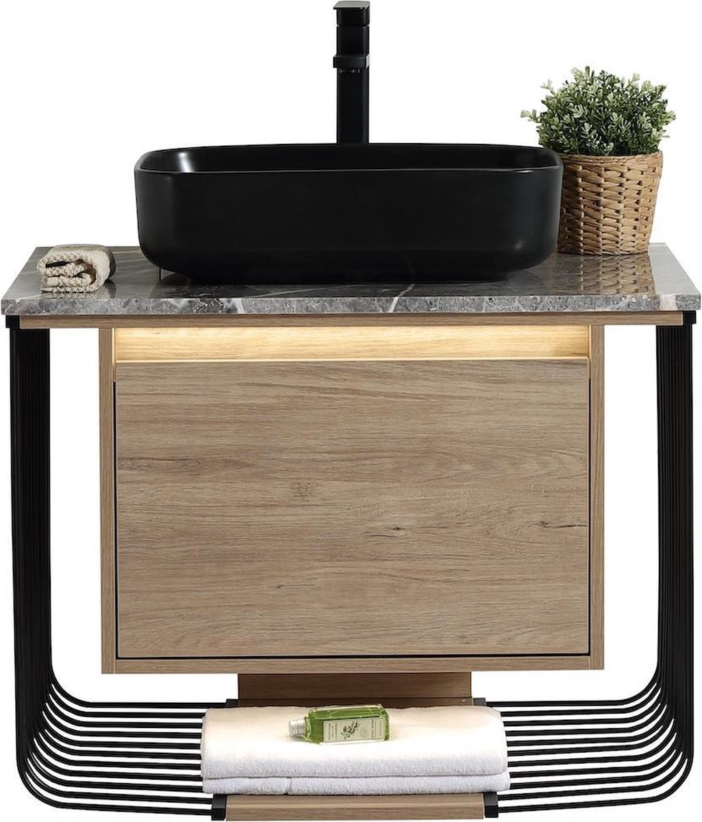 Badplaats - Badkamermeubel Salcedo 80cm - Hout met zwart frame - wastafelkast met waskom